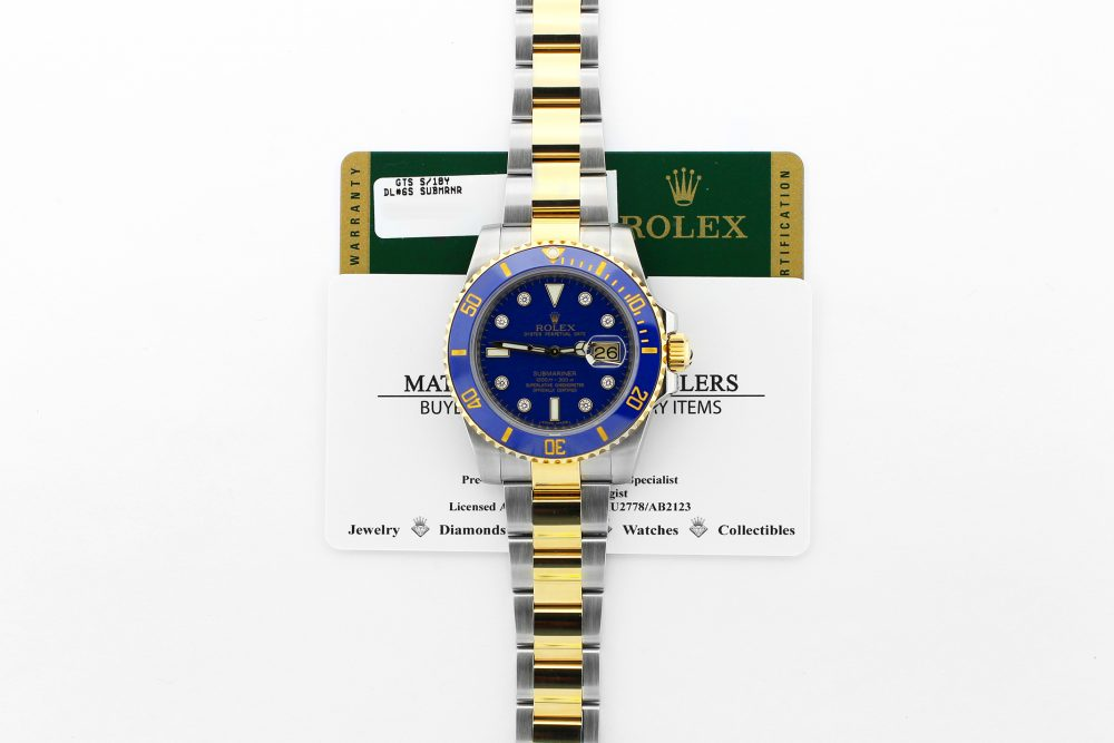 Rolex 18k Yellow Gold & Steel Ceramic Submariner Date Blue Factory Diamond Serti 116613 with Box & Card
