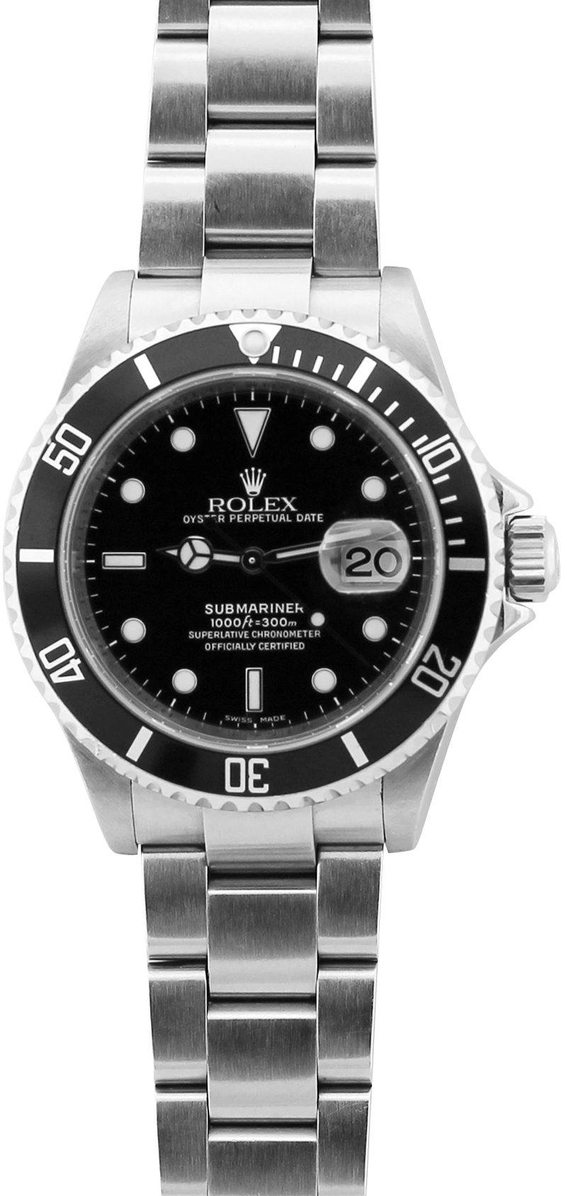 Rolex Steel Submariner Date 16610 (Inner Bezel Engraved) with Box & Booklets