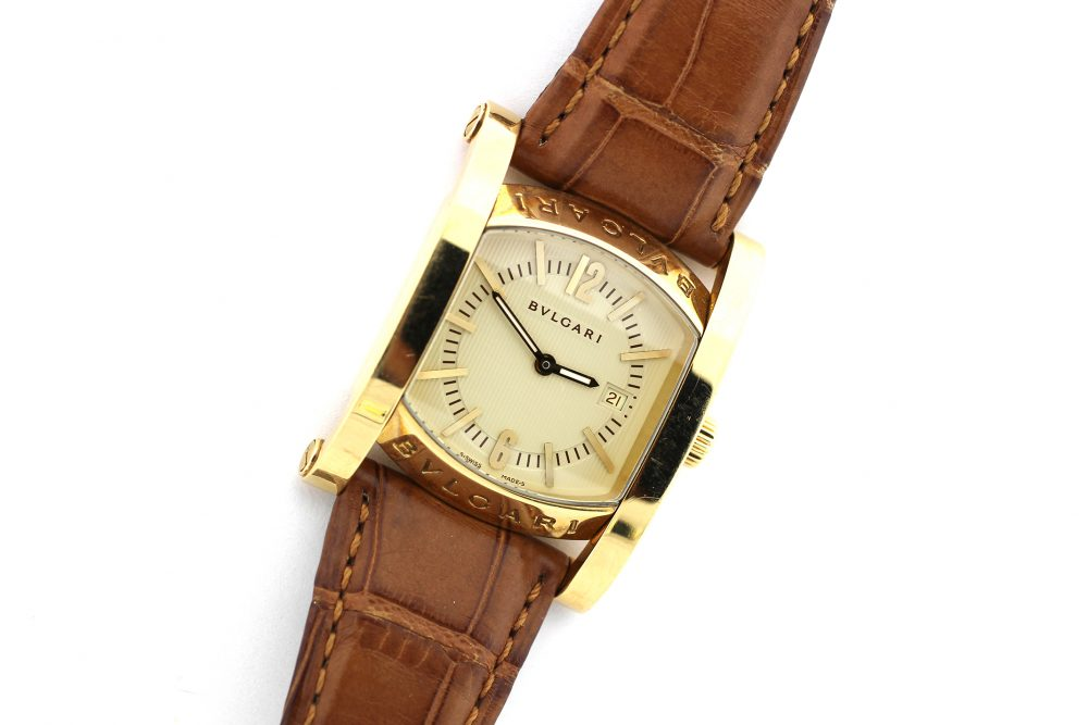 Bvlgari 18k Yellow Gold Assioma AA39G Automatic with Date on Strap