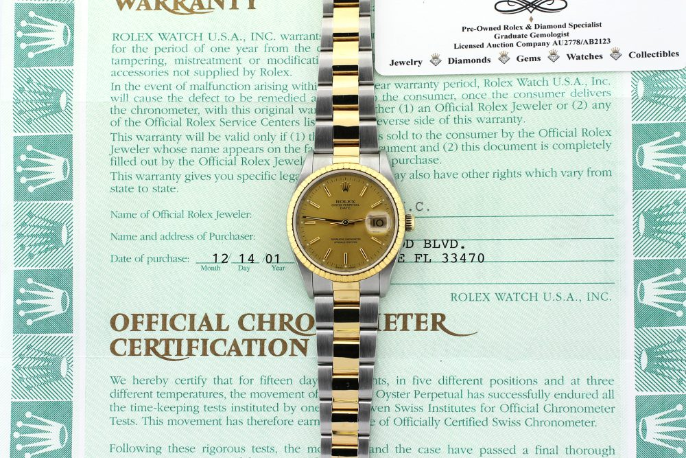 Rolex 18k Yellow Gold & Stainless Steel Date with Champagne Dial 15223 on Jubilee Bracelet Complete with Box & Papers