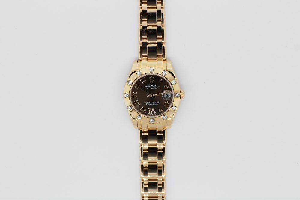 Rolex 18k Rose Gold Masterpiece Factory 12 Diamond Bezel Rose Sunburst Factory Diamond Six Hour Marker Model 81315 Complete with Box & Card