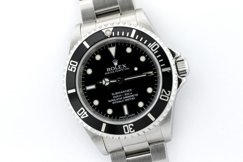 Rolex Steel Gloss Dial 4 Line Submariner 14060M with Box & Booklets