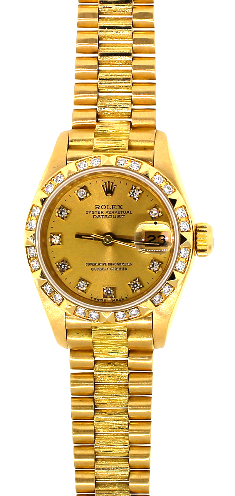 Rolex 18k Yellow Gold President with Factory Diamond Bezel and Factory Diamond Dial Model 69278 with Box & Booklets