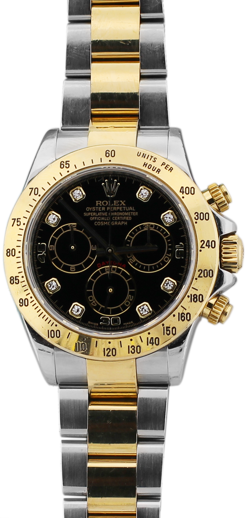 Rolex Two Tone Daytona Black Diamond Dial 116523 with Box & Paper