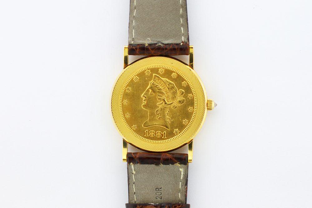 Corum 18k Yellow Gold Quartz 1881 Coin