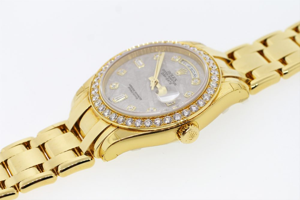 Unworn Rolex 18k Yellow Gold Meteorite Diamond Dial 39MM Day-Date Masterpiece with Factory Diamond Bezel & Rolex Factory Stickers 18948 with Box & Booklets