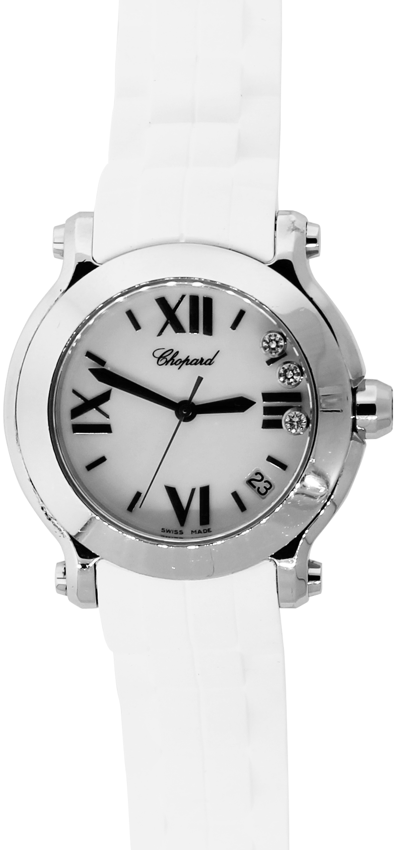 Chopard Steel Quartz Happy Sport with Floating Diamonds on White Rubber Strap