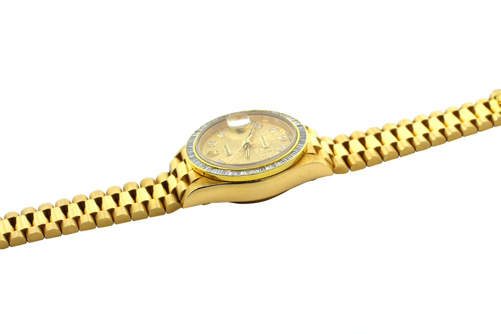 Rolex 18k Yellow Gold President with Factory Diamond Dial with Custom Baguette Bezel Model 79178 with Box & Booklets