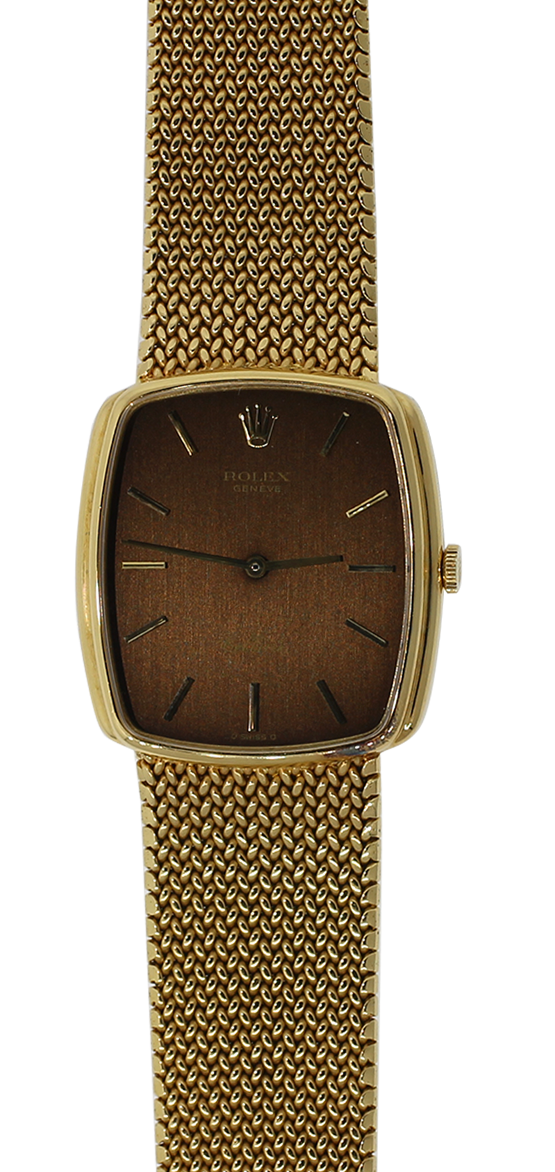 Vintage Rolex 18k Yellow Gold Cellini on Mesh Bracelet Complete with Box & Paper