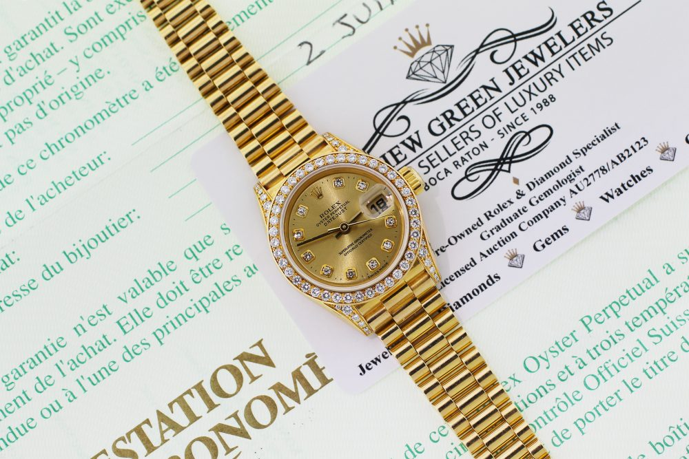 Rolex 18k Yellow Gold President with Factory Diamond Bezel, Dial & Lugs Model 69158 with Box & Paper