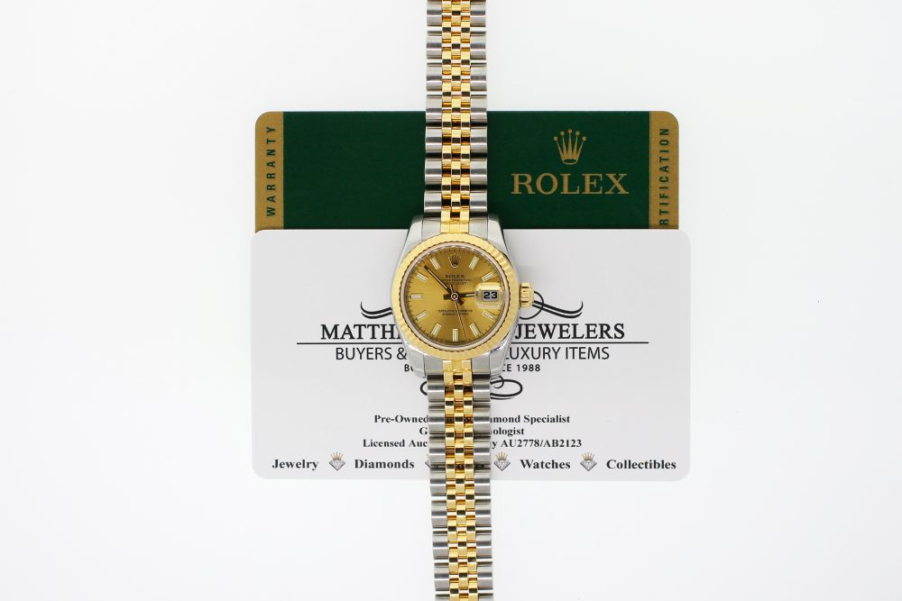 Rolex Two-Tone Datejust Champagne Dial Model 179173 with Box & Card