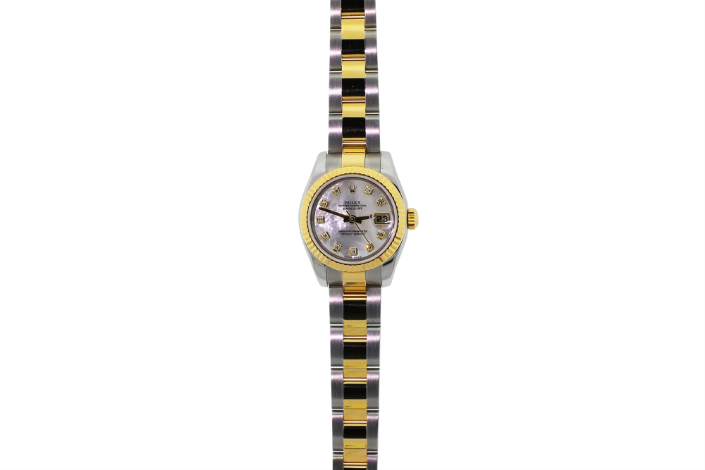Rolex Two-Tone Datejust White Mother Of Pearl Diamond Dial Model 179173 with Box & Booklets