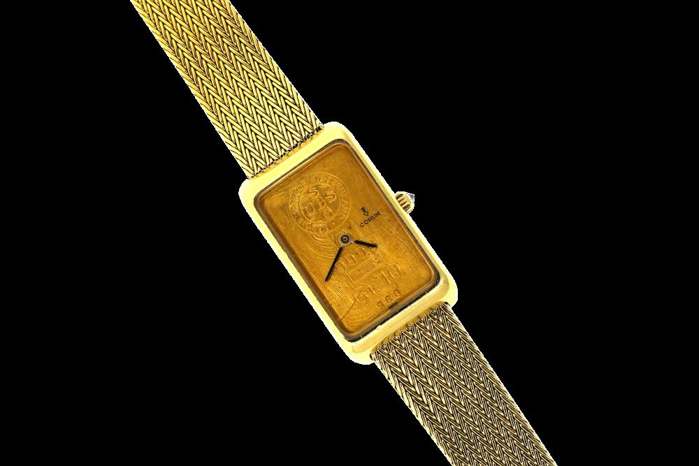 Corum 18k Yellow Gold Manual Wind 999.9 Ingot on Mesh Bracelet