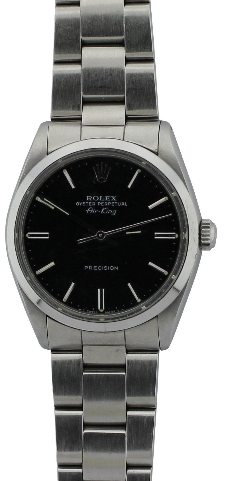 Rolex Steel Black Dial Air-King 5500 Complete with Box & Paper