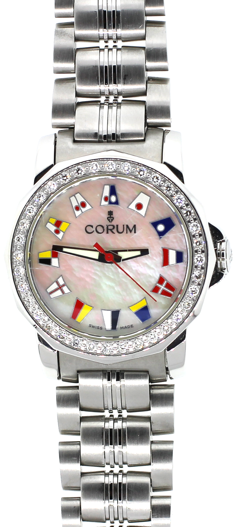 Corum Steel Admirals Cup with White Mother of Pearl Dial & Factory Diamond Bezel