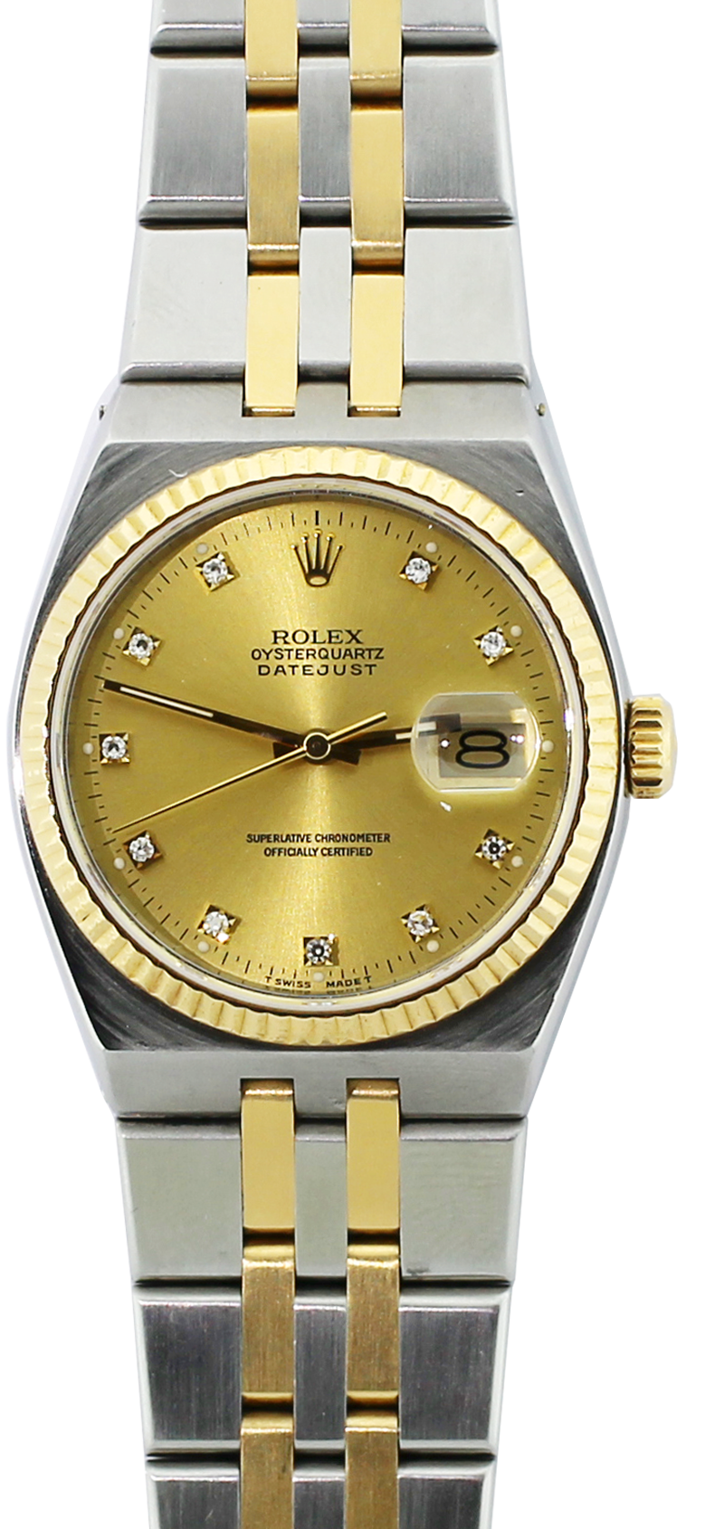 Rolex Steel & 18k Yellow Gold Factory Diamond Dial Oyster Quartz 17013 with Box & Booklets