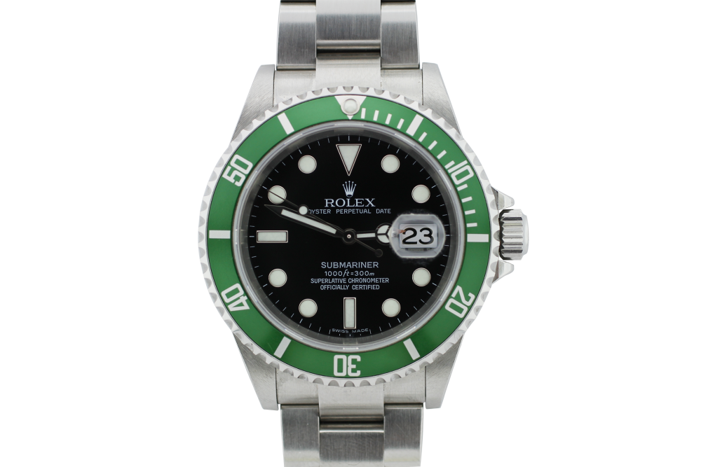 Rolex Steel Green Anniversary Submariner 16610T with Box & Booklets