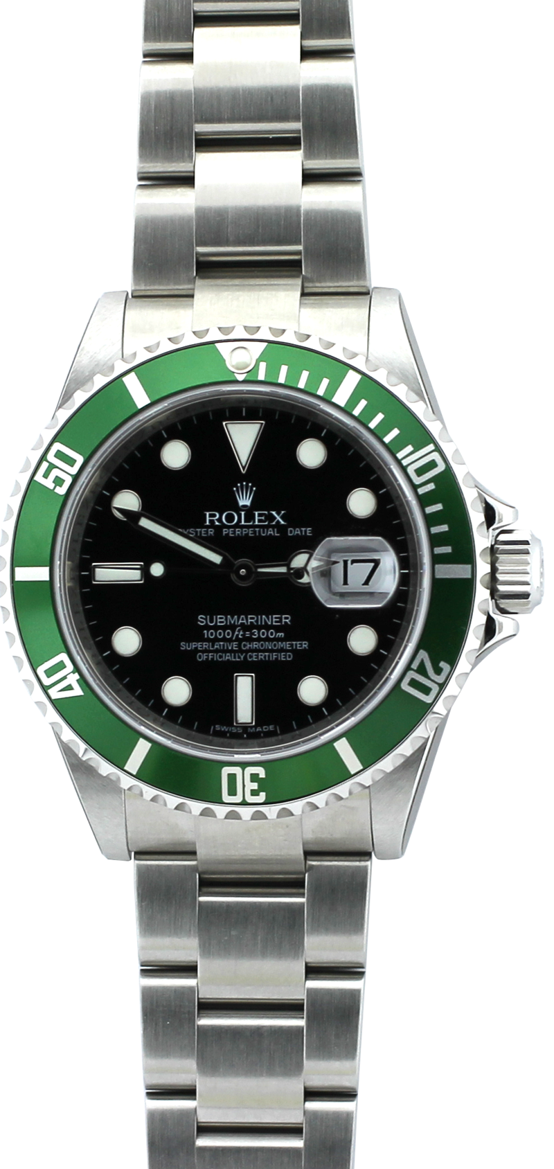 Rolex Steel Green Anniversary Submariner 16610T with Box & Booklets (Factory Case Stickers)