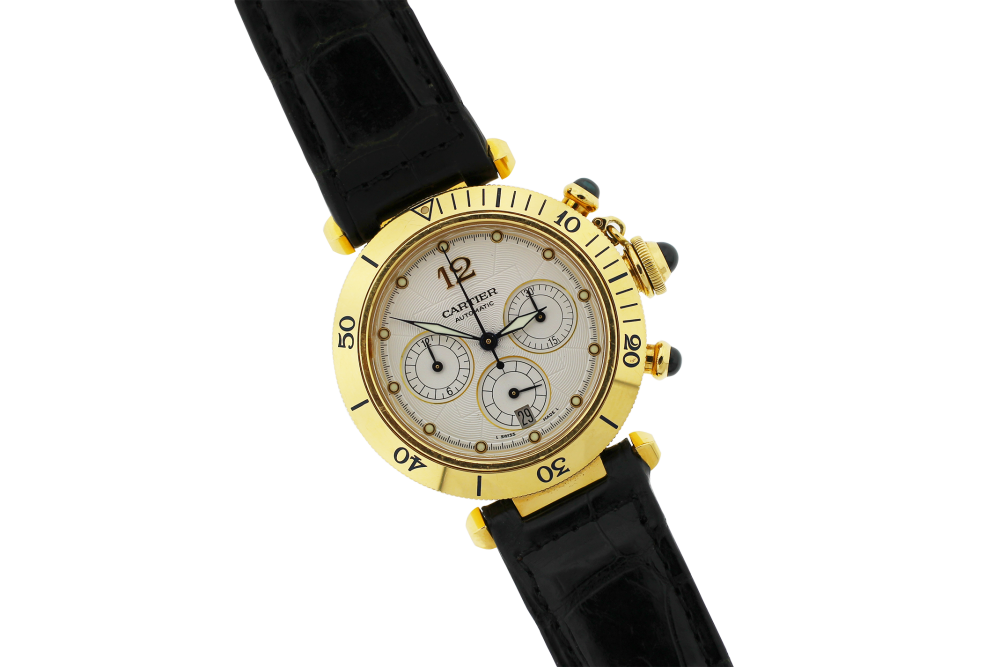 Cartier 18k Yellow Gold Pasha Chronograph Model 2111