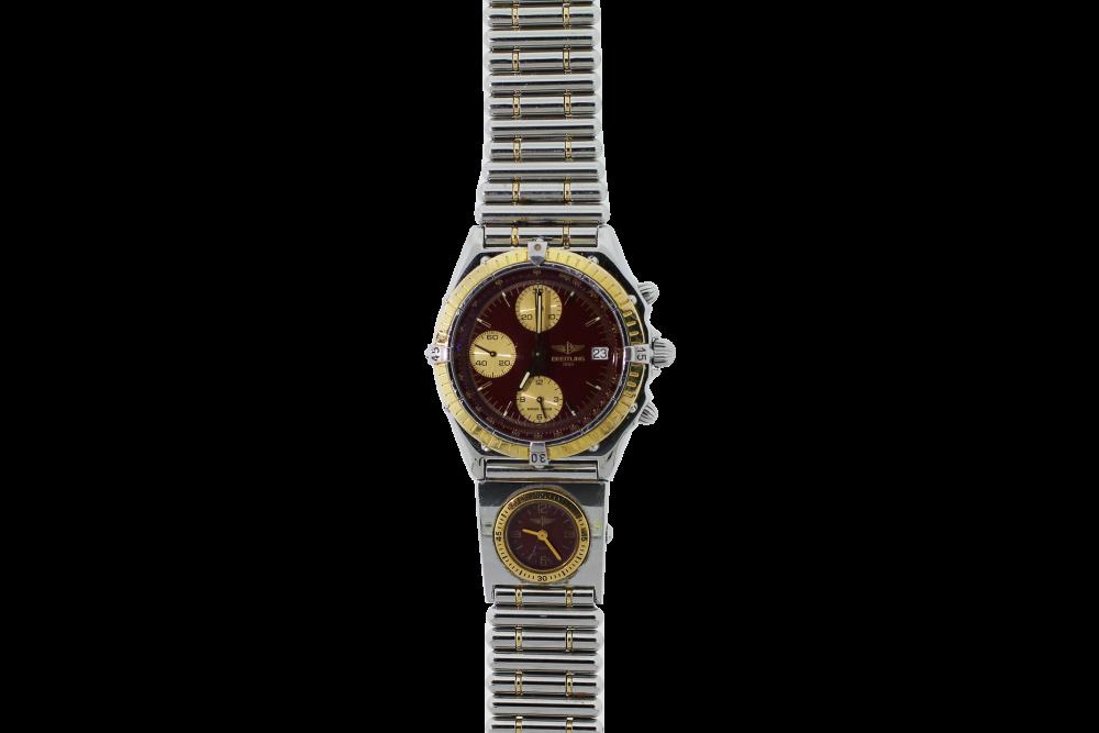 Breitling Two Tone Chronomat Chronograph Maroon Dial on Bullet Bracelet D13048