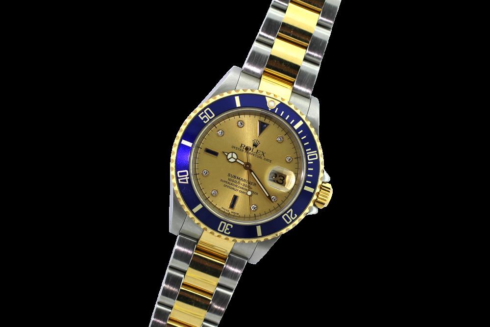 Rolex Two Tone Submariner Champagne Serti Diamond & Sapphire Dial 16613 with Box & Paper