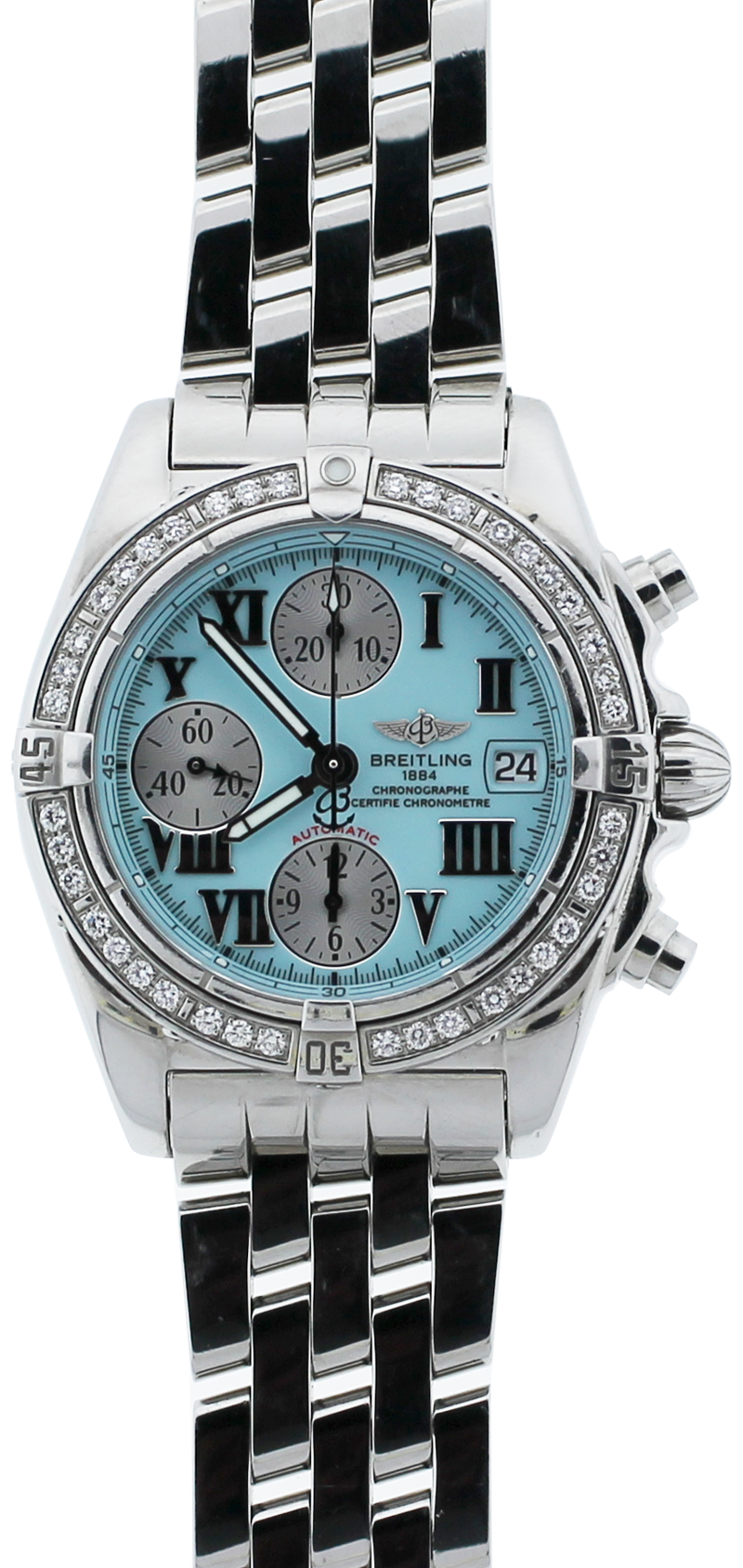 Breitling Steel Chronomat Chronograph Baby Blue Dial with Factory Diamond Bezel