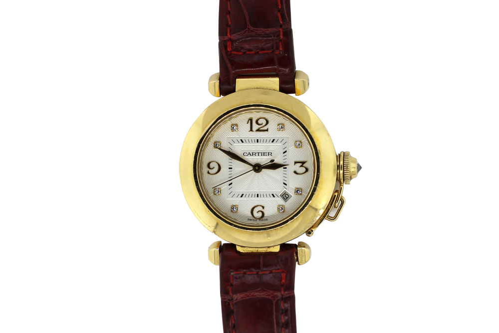 Cartier 18k Yellow Gold Factory Diamond Dial Pasha 2519 on Strap