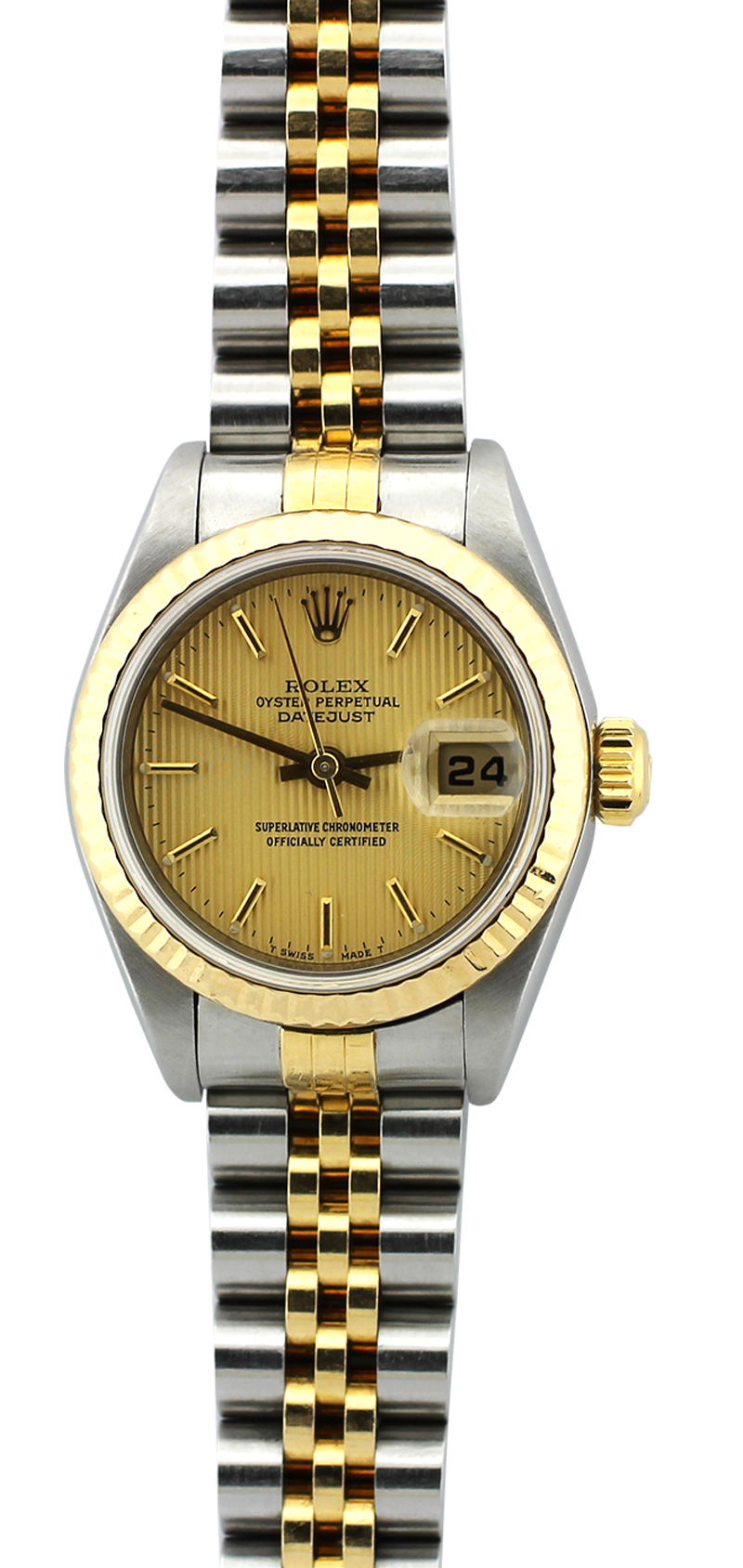 Rolex Two-Tone Datejust Champagne Tapestry Dial Model 79173 with Box & Booklets