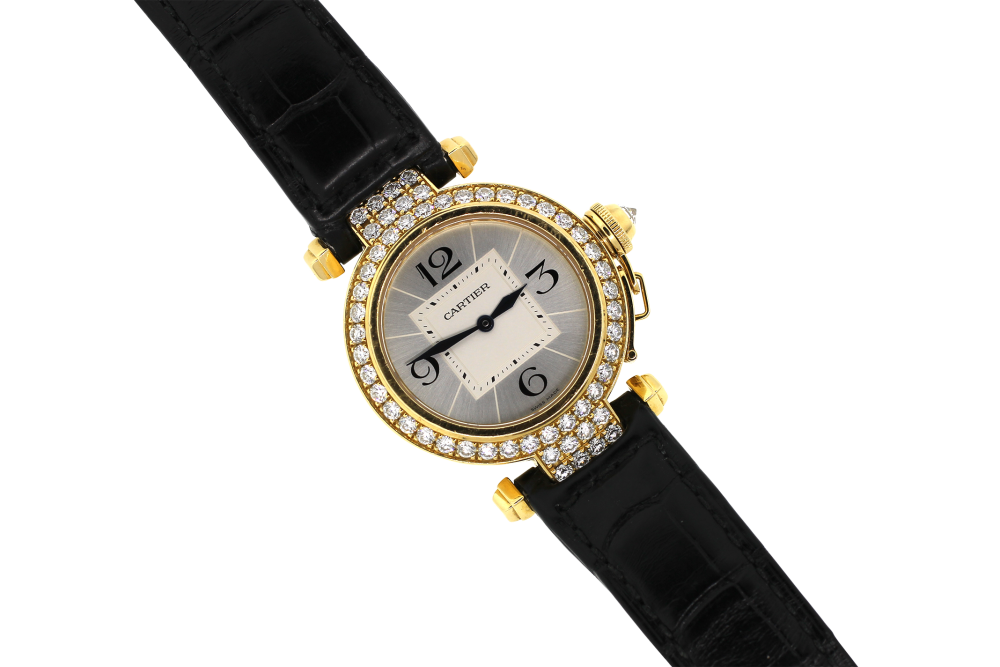 Cartier 18k Yellow Gold Factory Diamond Dial Pasha 2811 on Strap