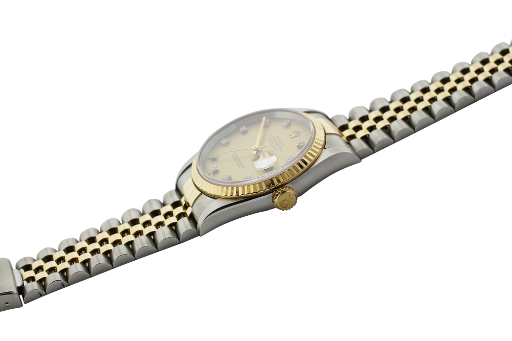 Rolex Two-Tone Datejust Champagne Diamond Dial 16233 with Box & Paper