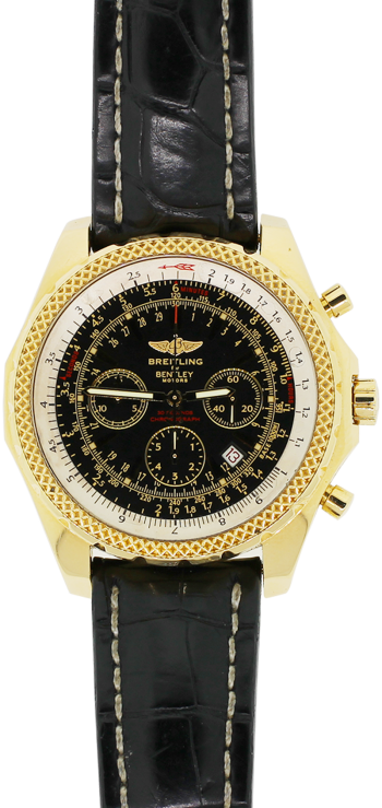 Breitling 18k Yellow Gold Bentley Motors Chronograph Special Edition Black Dial K13356 with Folding Breitling Clasp